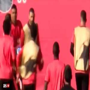 Ramos losing it in training