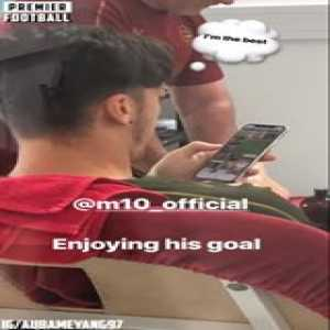 Ozil enjoying his goal from Monday night 😂