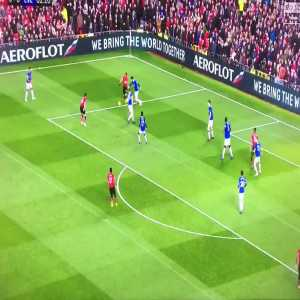 Paul Pogba takes a shot that goes out for a throw-in during Man Utd v Everton game