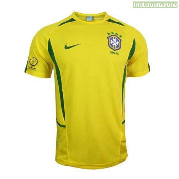 Which player comes to mind when you see this classic Brazil shirt?