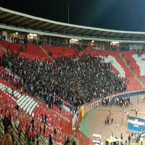 """Red Star players and fans sing """"Pavkov's on fire"""" one hour after the match v Liverpool"""