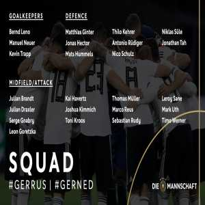 German squad for the games against Russia and the Netherlands