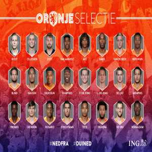 The Netherlands' squad for the Nations League games against France and Germany. Dilrosun included for the first time.