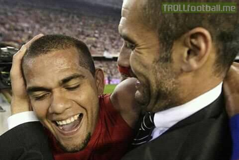 """Reporter: """"Dani Alves says that playing Under you is better than having sex.""""  Pep Gurdiola: """"Well, I prefer SEX.""""  😂😂??😂 Oun7"""