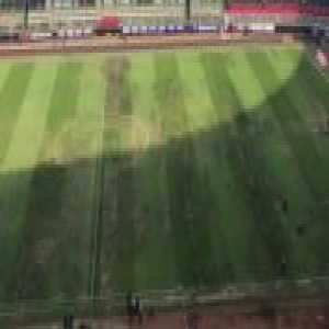 The state of the pitch at the Estadio Azteca before today's league game. A concert earlier in the week led to these poor conditions.