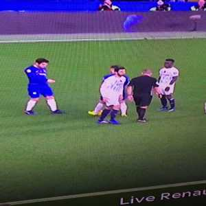 Referee sprays grass. Fabregas PICKS UP SPRAY and places it further forward to gain a yard at a free kick.