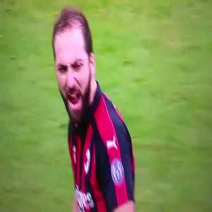 """What Higuain has apparently said to the referee before being sent off: """"You always whistle against me! Always against me!"""""""