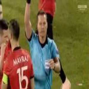 Albania vs Scotland: Mërgim Mavraj red card for headbutt