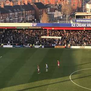 Tranmere fans protesting Richard Scudamore's £5m retirement fund, while grassroots football is ignored