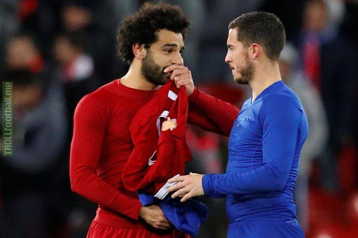Friendly reminder: Mohamed 'one season wonder' Salah has scored 9 goals while Eden 'best in the Premier League' Hazard has 8.
