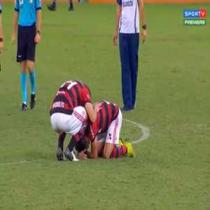 Lucas Paqueta emotional after his final game with Flamengo ahead of his move to AC Milan.