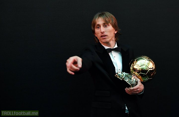 """""""This award is for all those players like Xavi, Iniesta and Sniejder who deserved to win but couldn't, this is also for them.""""   - Luka Modrić 👏"""