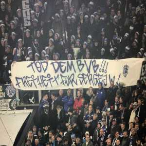 "During the Ruhr Derby Schalke 04 fans held up a sign saying, ""Death to BVB, Freedom for Sergei W."""