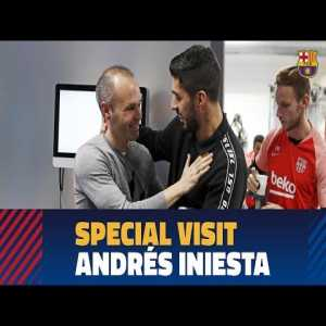Andres Iniesta Pays Visit To Barça's Training Session