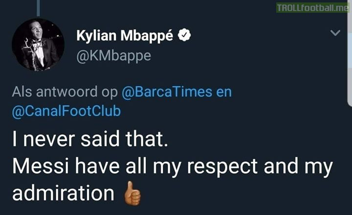 There were news which stated that Mbappe had said that he would surpass Messi in being the best in the world.   He has replied to those comments as below.