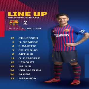 No Messi, Busquets, Alba, Ter Stegan, Suarez and Pique in the starting XI against Spurs. Carles Alena and Juan Miranda start.