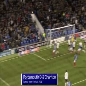 Double goal line clearance by Charlton's George Lapslie vs Portsmouth last night
