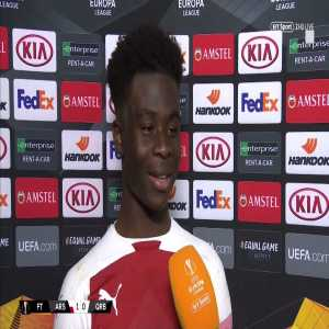 """17 yr old Saka """"My family were buzzing last night, they managed to put me to bed early!"""" 🤣 """"I should have scored at the end...I don't know what happened!"""" [17-year-old Arsenal debutant Bukayo Saka BTSport interview]"""