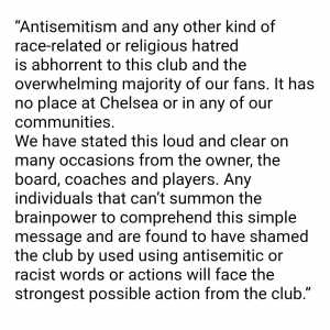 [Dan Levene] Statement just in from Chelsea FC official spokesman on the racist chanting by a section of Chelsea fans in Budapest tonight...