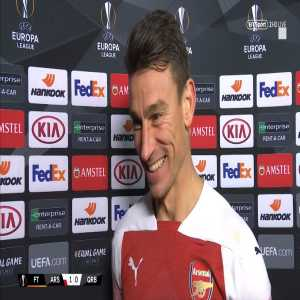 """Koscielny: """"I think I'm better, in my head, and physically as well."""" 'Laurent Koscielny's happiness was clear to see after he made his return 255 days after his last appearance for Arsenal' [BTSport postmatch interview]."""