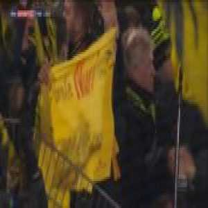 Borussia Dortmund fans say goodbye to Nuri Sahin after Dortmund's match against Sahin's new club Werder Bremen. Sahin was at BVB for a total of 14 years.