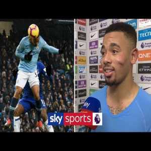Gabriel Jesus trying his english on the flash interview after today´s game.