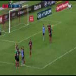 Western Sydney Wanderers goalkeeper Vedran Janjetović gets sent off for a handball outside the box in the Sydney Derby.
