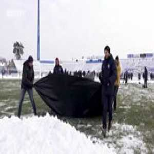 NK Osijek (Croatia 1st Division) - after heavy snowfall postponed yesterday's game for today, fans were offered a payed snow clearing this morning. After clearing the snow fans decided to give the money to charity