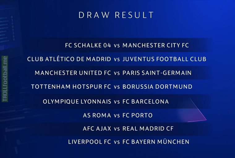 Champions League Round of 16 Draw results