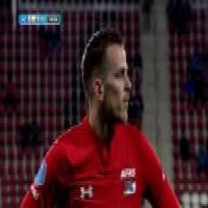 Mats Seuntjens put so much spin on his chip that the ball spun away from the net after landing! — AZ Alkmaar vs. PEC Zwolle