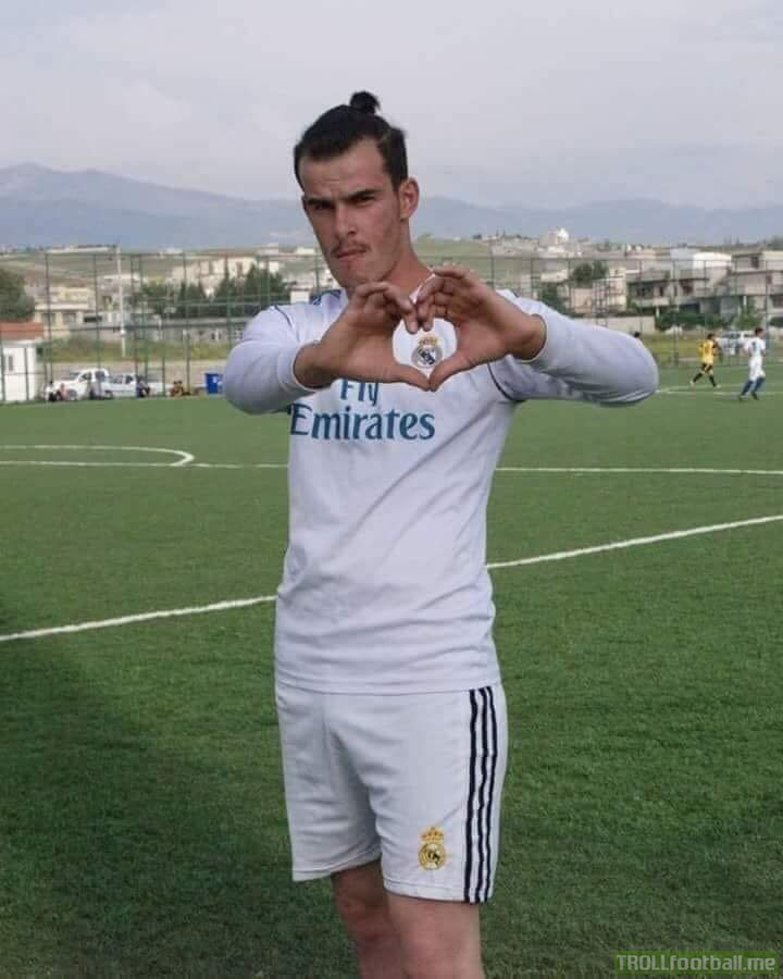 Gareth Bale celebrating one of his goals in Kyev
