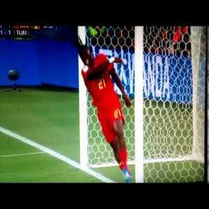 Michy Batshuayi belgium football player shoots at the goalpost and hits himself after goal