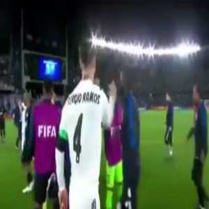 Modric and Vasquez argue after the CWC final