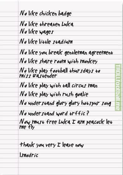 Modric's official leaked transfer request from 2012 #tbt