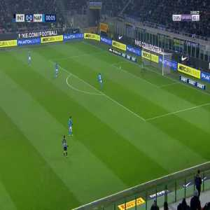 Mauro Icardi hit the crossbar on the kickoff against Napoli 1'