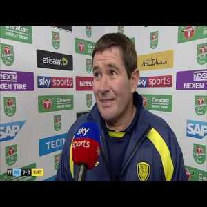 A very fair and gracious interview by Burton manager Nigel Clough on the 9-0 defeat to Man City