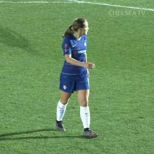 Chelsea forward Francesca Kirby with an outrageous bit of skill to get past two Reading players on Wednesday