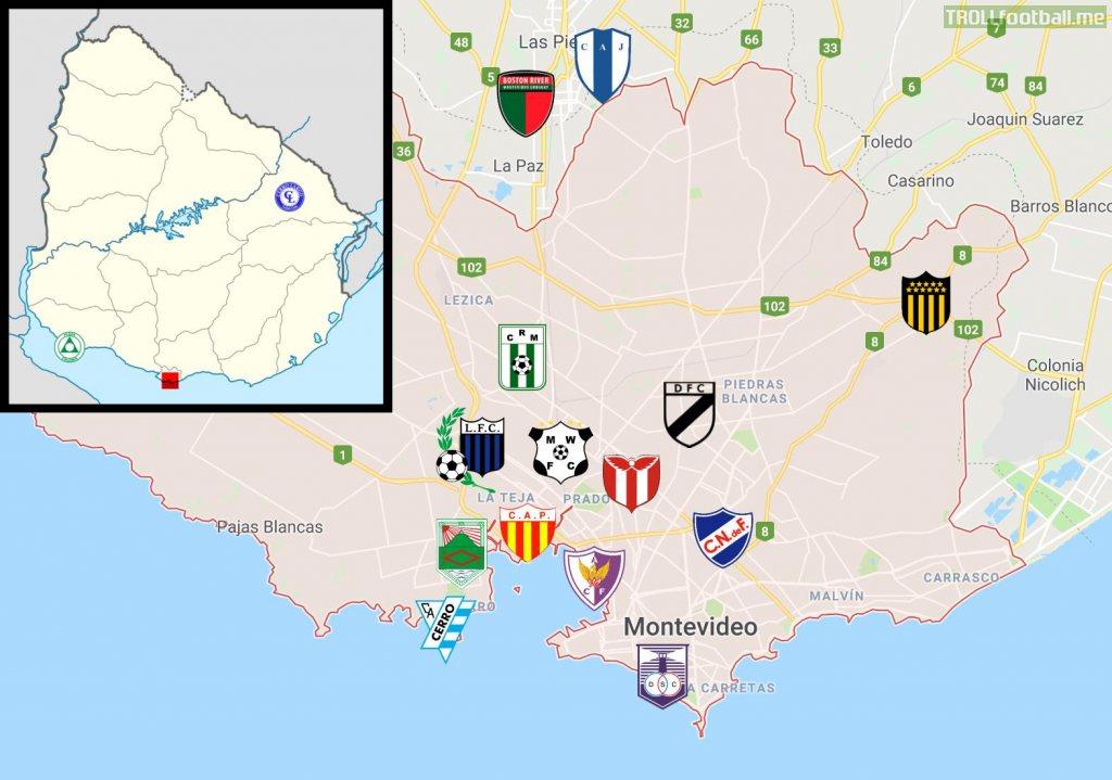 Mapping out all 16 Uruguayan Primera División teams