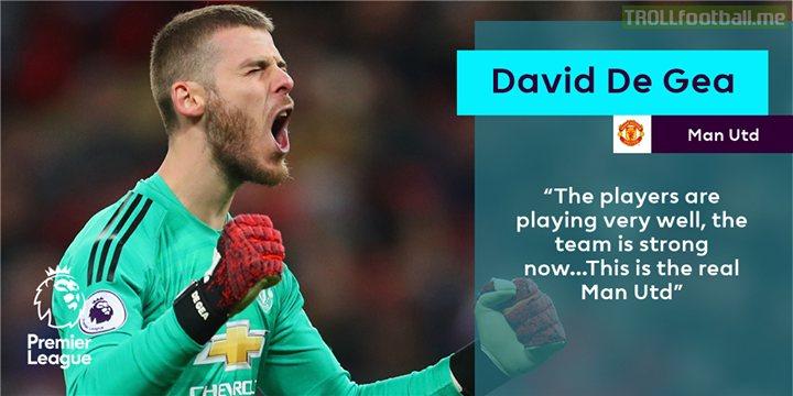 David De Gea is enjoying Man Utd's improving for