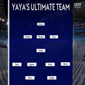 Yaya picks his Best XI from his teammates: Ederson, Puyol, Marquez, Kompany, Sane, Iniesta, Messi, Henry, Agüero, Drogba, Eto'o. Fairly attacking