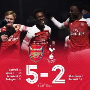 Arsenal beat Tottenham 5-2 in extra time to eliminate them from the FA Youth Cup