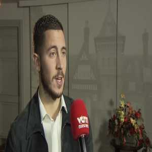 "Eden Hazard to @vtmnieuws on his second consecutive award: ""My son Yannis got the first, Leo will get this one, so I will need to win one for Samy too."" Hazard has no trophy room at home. Kids use them as toys. Some are in their rooms, some in the garage."