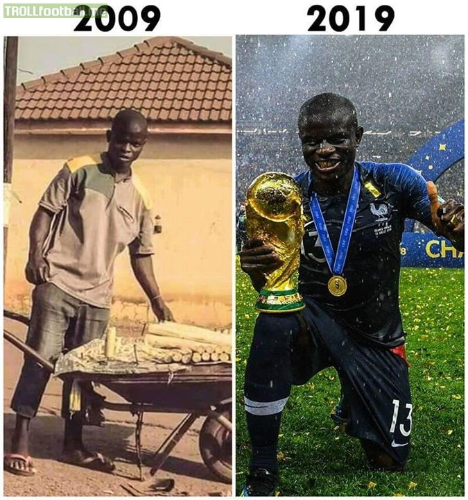 10YearChallenge N'Golo Kanté  Never give up on your dreams ❤️