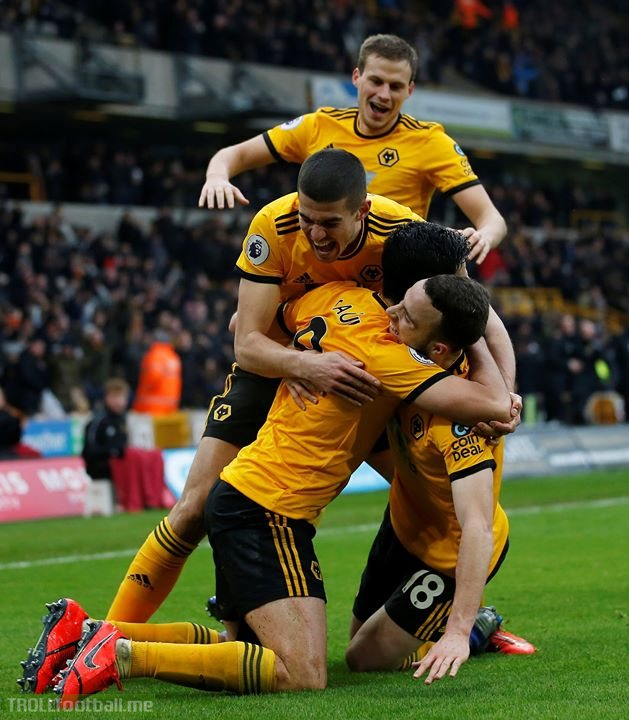 No words. Just goals.   12 mins: Wolves 2-0 Leicester 51 mins: Wolves 2-2 Leicester 64 mins: Wolves 3-2 Leicester 87 mins: Wolves 3-3 Leicester 90+3 mins: Wolves 4-3 Leicester