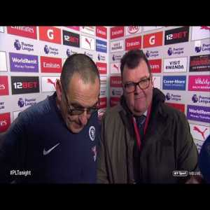 Sarri brings out a translator for the post match interview