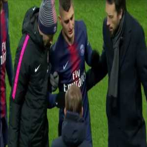 Verratti ankle injury 13 minutes in, subbed off for Draxler