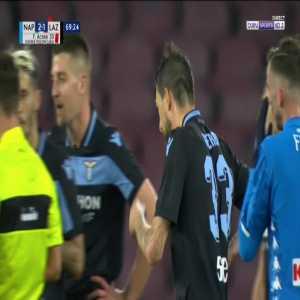 Francesco Acerbi (Lazio) second yellow card against Napoli 70'