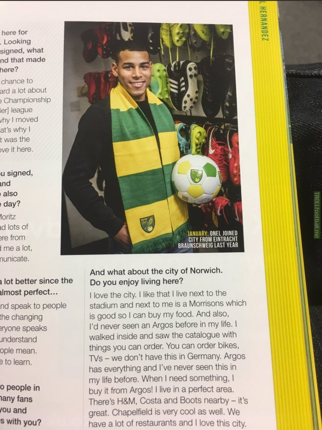 Onel Hernández on the city of Norwich