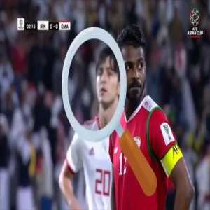 Iranian player hints at where the ball is going to the keeper