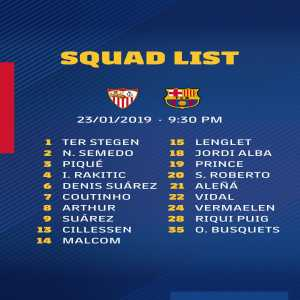 Barcelona squad list for tomorrow's clash with Sevilla: No Messi and Busquets, but Prince Boateng made the squad